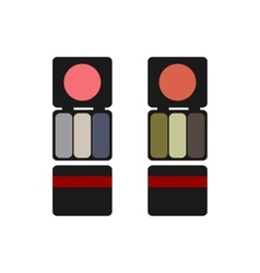 Makeup colored blush and eyeshadow flat vector