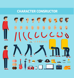 Male character constructor flat composition vector