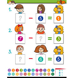 Maths subtraction game with kid characters vector