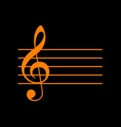 Music violin clef sign g-clef orange icon on vector