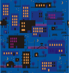 Night city in dark blue vector