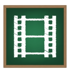 Reel of film sign White chalk effect on green vector image vector image