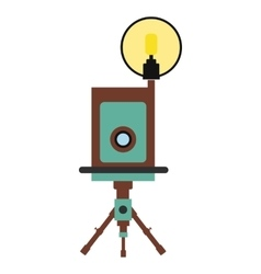 Retro camera flat icon vector
