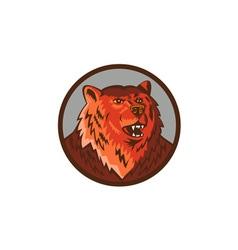 Russian bear head growling circle retro vector