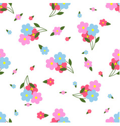 Seamless pattern colorful flowers and leaves vector