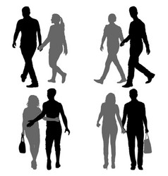 Set silhouette man and woman walking hand in hand vector