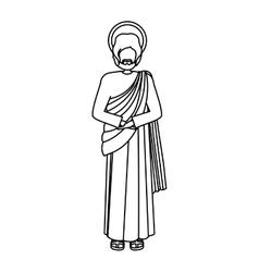 Silhouette figure human of saint joseph vector