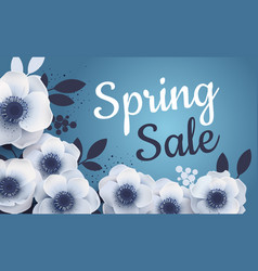 Spring sale banner with paper flowers anemones vector