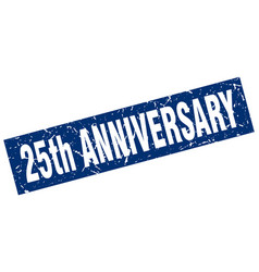 Square grunge blue 25th anniversary stamp vector