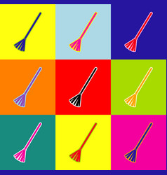 Sweeping broom sign pop-art style vector
