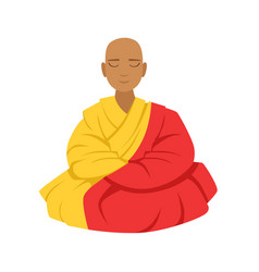 Tibetan monk in a robe buddhist in lotus position vector