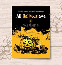 Vintage hand drawn halloween invitation vector