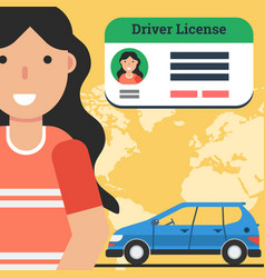 Woman with driver license and car vector