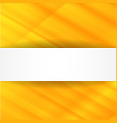 Yellow abstract background with white banner vector image