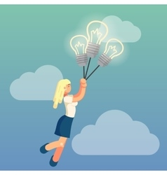 Young flat lady is dreaming about business ideas vector