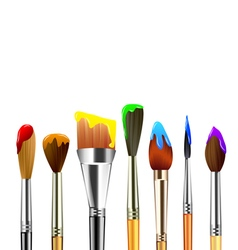 Artist paint brushes isolated on white background vector