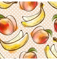 Seamless pattern with peach and banana vector
