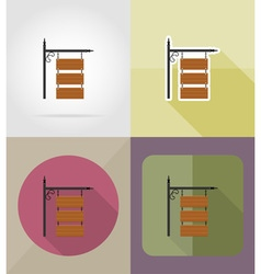 wooden board flat icons 11 vector image