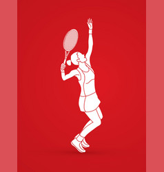 Woman tennis player sport woman action serve vector