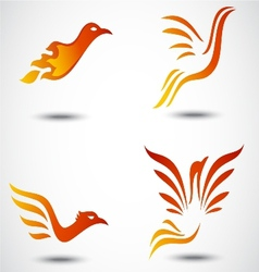 Phoenix bird icon collection set vector
