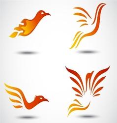Phoenix bird icon collection set vector image