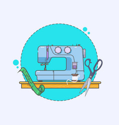 sewing machine icon embroidery sign linear icons vector image