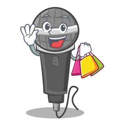 Shopping microphone cartoon character design vector