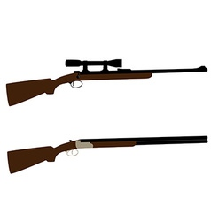 Hunting rifle and shotgun vector