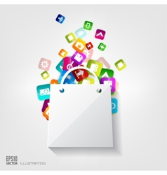 Shopping bag icon application buttonsocial media vector