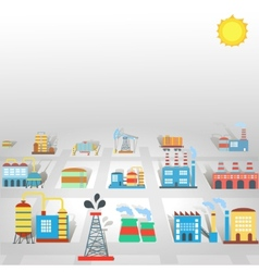 Factory flat industry background with manufactory vector
