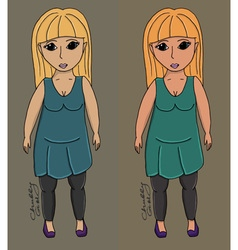 Chubby body girl vector