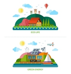 Set of flat design ecology background vector image