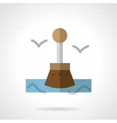 Seascape with buoy flat icon vector