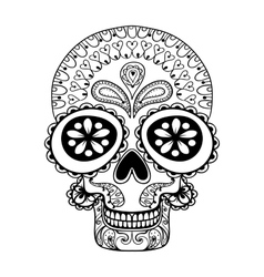 Hand drawn skull in zentangle style tribal totem vector