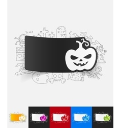 Pumpkin paper sticker with hand drawn elements vector