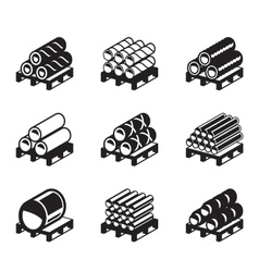 Pallets with metal plastic and rubber pipes vector image
