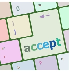 Accept on computer keyboard key enter button vector