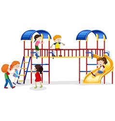 Many children playing at the playhouse vector