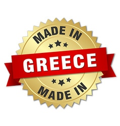 Made in greece gold badge with red ribbon vector