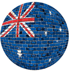 Ball with australia flag in brick style vector