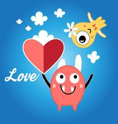 Beautiful with red heart vector