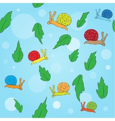 Cartoon snail and leaves seamless pattern vector image