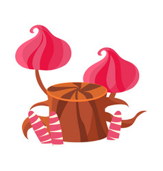 Chocolate stump with pink mushrooms made of vector