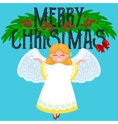 Christmas holiday flying happy angel with wings vector