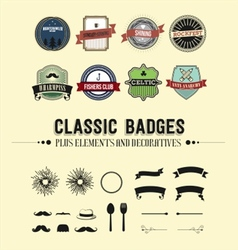 Classic badges plus decorative elements vector
