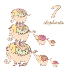 Collection of seven elephants lined vector image