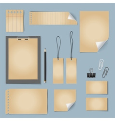 Collection of various old papers paper sheets vector image