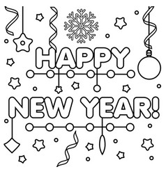 Coloring page with happy new year text drawing vector