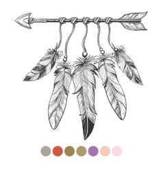 Colorng tribal arrow and feathers vector image vector image