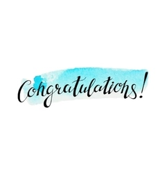Congratulation banner with abstract watercolor vector image